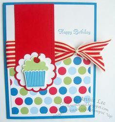 Stamps: Create a Cupcake Paper: Pacific Point, Real Red, Celebrations DSP Ink: Pacific Point, Pear Pizzazz Accessories: Build a Cupcake punch, Two-Tags Big Shot Die, Scallop Circle punch, Real Red Striped Grosgrain ribbon, Glimmer paper