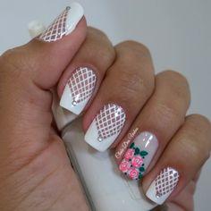 Modelos de Unhas Decoradas Francesinhas Modernas Happy Nails, My Nails, Pretty Nail Art, Flower Nails, Easy Nail Art, French Nails, White Nails, Nail Arts, Spring Nails