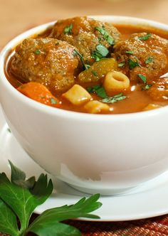 """<p><strong>Light Italian Meatball Soup</strong> is loaded with veggies and lean meatballs cooked in a light tomato broth. Ready in just 30 minutes. Freezes perfectly. To reheat, simply defrost, reheat in a saucepan over medium heat and add chicken broth or water as needed until desired consistency is reached. Serve and enjoy!</p> <p><a href=""""../26603/donnaelick/light-italian-meatball-soup/"""" target=""""_blank""""><strong>CLICK FOR RECIPE</strong></a></p>"""
