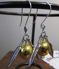 Snitch Earrings Inspired by Harry Potter...  I'm obsessed and would wear them all the time!!