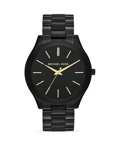 Michael Kors Mid-Size Black Slim Runway Three-Hand Watch, 42mm | Bloomingdale's