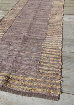 Brown Cotton and Jute Runner Rag Rug 60 x 180cm Hand Made Recycled Boho Hippie Loom Woven Traditional