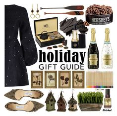 """""""Holiday Gift Guide <3"""" by michal100-15-4 ❤ liked on Polyvore featuring Rebecca Minkoff, Zimmermann, Jimmy Choo, Novus, IMAX Corporation, TokyoMilk, Bobbi Brown Cosmetics, NOVICA, Hershey's and WALL"""