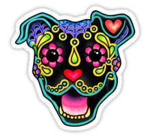 Pitbull Day of the Dead Sticker