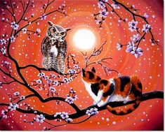 The Owl And The Pussycat In Peach Blossoms by Laura Iverson