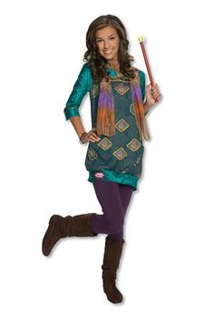 You can now look just like the pretty Alex Paisley from the Wizards of Waverly Place on Disney with our Alex Paisley Costume! This Halloween costume includes a glittery turquoise print dress with an attached scarf. Other costume accessories shown are available and sold separately.