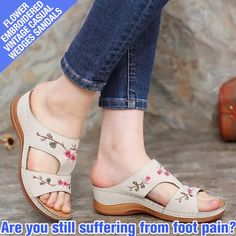 These Flower Embroidered Wedges Sandals are specially developed, with a three arch support design and a soft sole to keep your feet comfortable, health safe, and style on point! Gladiator Sandals, Wedge Sandals, Shoes Sandals, Types Of Sandals, Posture Correction, Sandals For Sale, Embroidered Flowers, Flip Flop Sandals, Open Toe