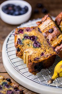 Moist and flavorful, this Healthy Blueberry Banana Bread is perfect for breakfast or snacks! No one will guess this delicious treat is lightened up.