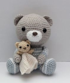 Squee! A teddy bear with a little teddy bear!! Amigurumi Crochet Pattern Haribo the Bedtime Bear by littlemuggles, $5.00