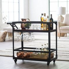 Take your style on the road with this Belham Living Jamestown Industrial Bar Cart . Its pre-prohibition design is perfectly enhanced with modern bar-friendly. Diy Bar Cart, Gold Bar Cart, Bar Cart Decor, Bar Cart Styling, Bar Carts, Black Bar Cart, Metal Bar Cart, Rolling Bar Cart, Bar Sala