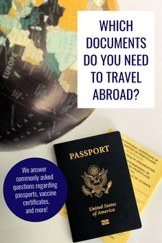 If you are planning to travel abroad, you may be wondering which international travel documents you need. In this article, you'll learn about five essential documents often needed for international travel. We also answer common questions regarding passport processing times, passport expiration, whether visas are necessary, vaccination certificates, and more! #traveltips #internationaltravel #travelabroad #passport #travelvisa #touristvisa #vaccinationcertificate #travelinsurance Travel Goals, Travel Advice, Travel Guides, Travel Tips, Travel Info, Passport Online, Travel Themes, Travel Abroad, Romantic Travel