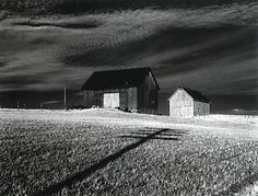 """""""Two Barns and a Shadow"""" by Minor White"""