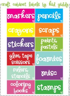 free printable craft cabinet labels