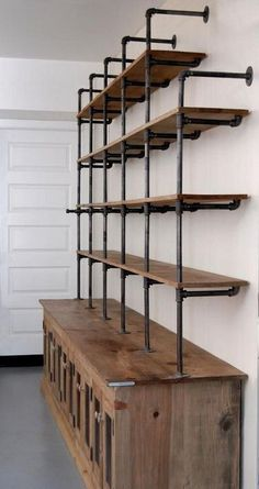 closet layout 642677809313328829 - 25 Inspiring Industrial Pipe Closet Designs You Can Make Yourself Source by Pipe Bookshelf, Diy Pipe Shelves, Cool Bookshelves, Industrial Pipe Shelves, Bookshelf Design, Wood Shelves, Pipe Shelving, Bookshelf Ideas, Industrial Closet
