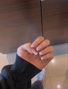 Pink Tip Nails, White Tip Acrylic Nails, Short Square Acrylic Nails, Acrylic Nails Coffin Short, Almond Acrylic Nails, Edgy Nails, Dope Nails, Swag Nails, French Tip Nail Designs