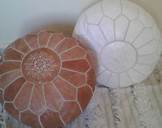 Set of 2 Leather poufs ottoman luxury natural and by EastPearlArt