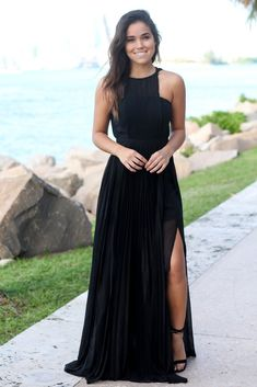Black Pleated Maxi Dress with Side Slits