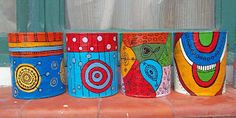 Decorated Flower Pots, Painted Flower Pots, Painted Pots, Hand Painted, Diy Crafts For Home Decor, Baby Crafts, Crafts For Kids, Painted Tin Cans, Paint Cans