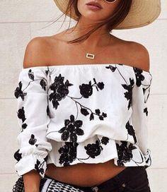 Cute Off-The-Shoulder Black Floral Printed Short Blouse For Women