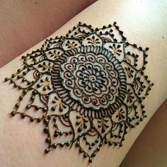 Mandala henna design on my upper thigh for a stain test of a fresh batch of…