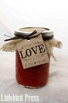 Personalized Printable Wedding Favor Tag - Spread the Love - Jam - PDF - DIY