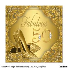 Fancy Gold High Heel Fabulous 50th Birthday 5.25x5.25 Square Paper Invitation Card