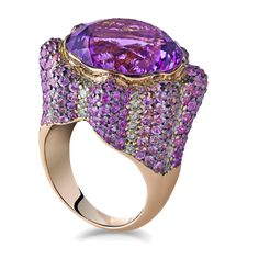 ZORAB ATELIER DE CREATION ~ Radiance Amethyst Lux Ring A brilliant rainbow of violet, pink, and white in a luminous setting. Featuring amethyst quartz, pink sapphire and white diamonds.