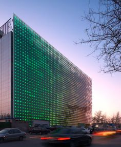 Installed on the Xicui entertainment complex in Beijing [near the site of the 2008 Olympic Games], GreenPix is a sustainable LED media display applied to the glass curtain wall. with integrated photovoltaic cells.