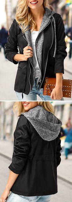 Zipper Up Long Sleeve Hooded Collar Coat.