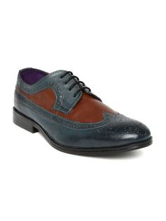 Knotty Derby Men Brown & Teal Blue Semiformal Shoes