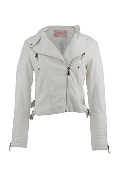 2075d231063b2a BK LederDames jassen · Met deze  Witte  dames  bikerjack zie je er   stijlvol uit! Bij