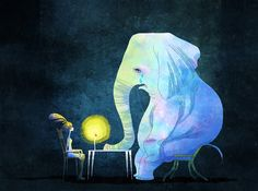 """littleoil: Elephants tells the story, the illustration for the band """"Ma-te Lin"""""""