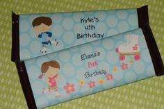 Super Cute Roller Skating Birthday Party Candy Bar Wrappers. via Etsy.