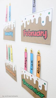 Laminate and use a dry erase marker to write… Printable classroom birthday chart. Laminate and use a dry erase marker to write the names of each student on the candles and place on the birthday cake month. Preschool Birthday Board, Birthday Chart Classroom, Birthday Bulletin Boards, Birthday Wall, Birthday Charts, Preschool Classroom, Diy Birthday, Classroom Door, Class Birthday Display