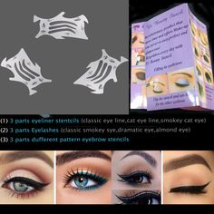 BTArtbox Eye Makeup Set 3 Pcs 9 in 1 Eyeliner ,Eyelashes and Eyeshadow Stencils Tool Eliner tool .Finish Your Eye Makeup in Minute * You can get more details by clicking on the image.