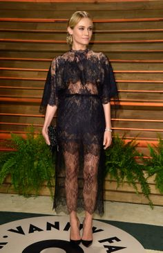 Diane Kruger wears  Valentino dress and shoes from the Haute Couture Spring Summer 2014 collection to The 2014 Vanity Fair Oscar Party on March 2nd, 2014