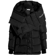 Balenciaga Swing Doudoune oversized quilted shell hooded coat (15.395 RON) ❤ liked on Polyvore featuring outerwear, coats, jackets, coats & jackets, balenciaga, black, padded coat, oversized coat, feather coat and quilted coat