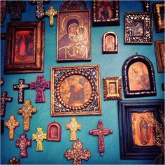 Mexican devotional decor: santos