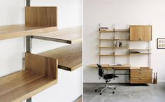 Made in Brooklyn, the Atlas Industries Shelving System available in white oak, maple and walnut House Design, Small Spaces, Library Wall, Interior, Wall Mounted Shelves, Happy House, Shelving, Wall Systems, Desk Nook