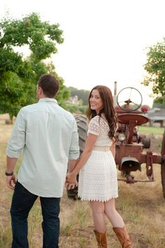 tractor engagement country themed in apple orchard | Andrew   Jamie #marcellatreybigphotography