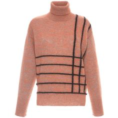 Marco de Vincenzo Striped Mohair Turtleneck Sweater ($940) ❤ liked on Polyvore featuring tops, sweaters, stripe top, sweater pullover, mohair pullover, slimming tops and mohair sweater