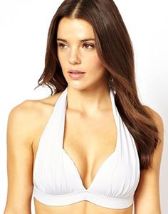 ASOS FULLER BUST Exclusive Pleated Moulded Halter Fuller Bust Bikini Top D-F