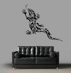 kik1483 Wall Decal Sticker goanna lizard tattoo style bedroom living room