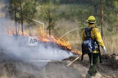 """A firefighter looks over a controlled fire being used to burn out an area between a house and the main fire Saturday, Aug. 22, 2015, in Okanogan, Wash. Out-of-control blazes in north-central Washington have destroyed buildings, but the situation is so chaotic that authorities have """"no idea"""" how many homes may have been lost. (AP Photo/Elaine Thompson)"""