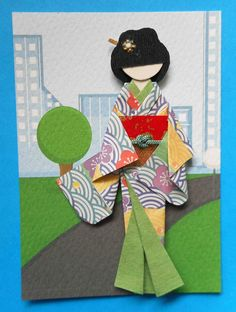 ATC1309 - Geisha in the Modern City | ATC with hand-folded Japanese origami paper doll.
