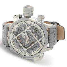 Wow. A Russian diver with Swiss mechanical movement and bold case complication. Front cage is removable and rear case opens to reveal exhibition back. Invicta Russian Diver Nautilus: Swiss Mechanical Movement, Crown Protector, Grey Leather Strap. #Wishlist