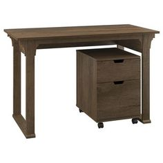 espresso office desk. Bush Furniture Mission Creek Collection Rustic Brown Writing Desk With Two-drawer Mobile Pedestal Espresso Office D