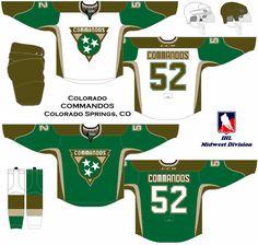 A revival of the International Hockey League. Ice Hockey Jersey, Jersey Boys, Colorado Springs, Division, Sports Uniforms, Nhl, Uniform Ideas, Concept, Sari