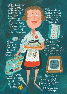 jessi hartland, food, bon appetit, book, children, julia childs, happi 100th, delici life, illustr