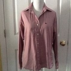 BURBERRY London Red Plaid Button Down Shirt Top Blouse Long Sleeves Sz 6 #Burberry #ButtonDownShirt